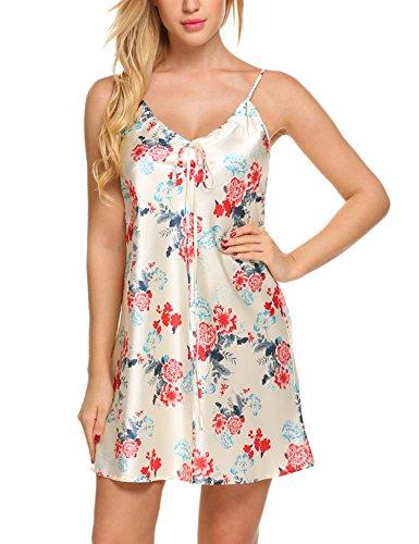 Floral Satin Pajamas (Avidlove Womens Silk Pajamas Satin Nightwear Printed Sleepwear Blue M)