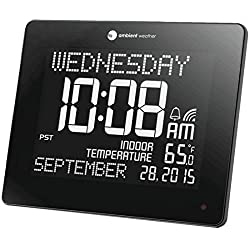 Ambient Weather RC-8473 Jumbo Memory Clock with Extra Large Non-Abbreviated Day & Month, Alarm, and Radio Controlled Time