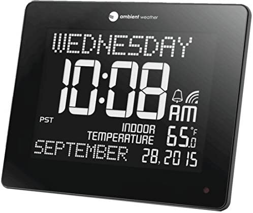 Ambient Weather RC-8473 Jumbo Memory Clock with Extra Large Non-Abbreviated Day Month, Alarm, and Radio Controlled Time