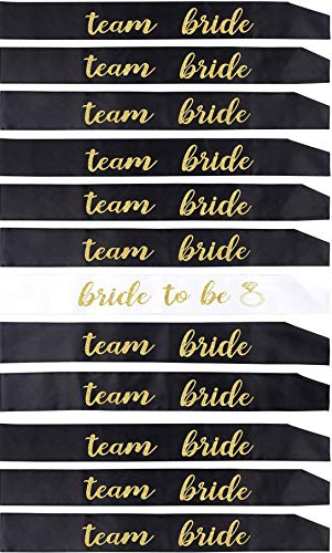 12 Pack Bachelorette Party sash Set/Bride to be sash/Bridesmaid sash, Team Bride or Bride Tribe sash as Bridal Shower Decorations, Bachelorette Party Favors or Supplies, Maid of Honor Gifts.
