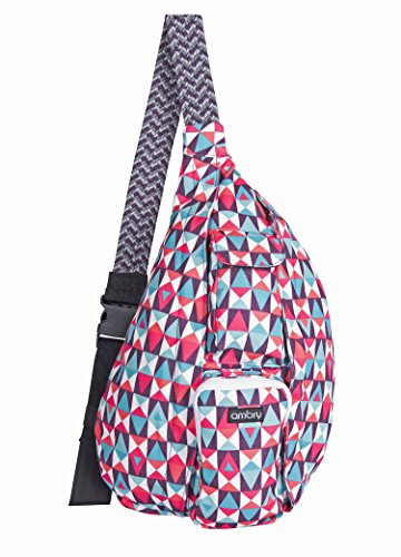 Ambry Rope Sling Bag - Natural Cotton Canvas Bag with Adjustable Shoulder Strap - Compact Backpack Design Carries All Your Important Gear for Hiking, Commuting and Travel
