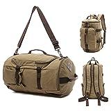 Canvas Travel Duffel Tote Multipurpose Luggage Bag Convertible Backpack Hiking Rucksack Khaki