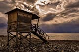 Home Comforts LAMINATED POSTER Lifeguard Storm Tower Sky Clouds Beach Sunlight Poster 24x16 Adhesive Decal
