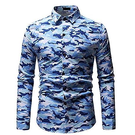 IYFBXl Camisa Delgada de tamaño asiático para Hombre - Camuflaje/Camuflaje con Cuello de Camisa: Amazon.es: Deportes y aire libre