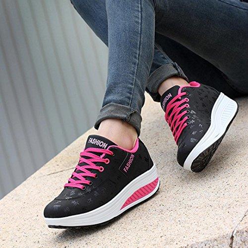 a scarpa scarpe zeppa Scarpa sneakers per estive donna crescente altalena donna Nero Elecenty eleganti XAd0TwTx