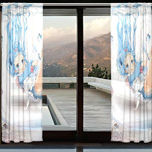 ARTSHEER Sheer Curtains Lovely Underwater Hatsune Miku Art Deco Voile Drapes French Window for Living Room Bedroom Window Same Pattern Sheer Curtain (2 Panels Each 118x55 inch)