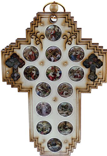 Three Layers with enameled medals showing 14 Stations of the Cross and 2 Small Crosses filled with natural Holy Land stones