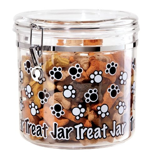 Oggi 8304 Jumbo Arylic Airtight 130-Ounce Pet Treat Canister with Paw Prints Motif-Food Storage Container