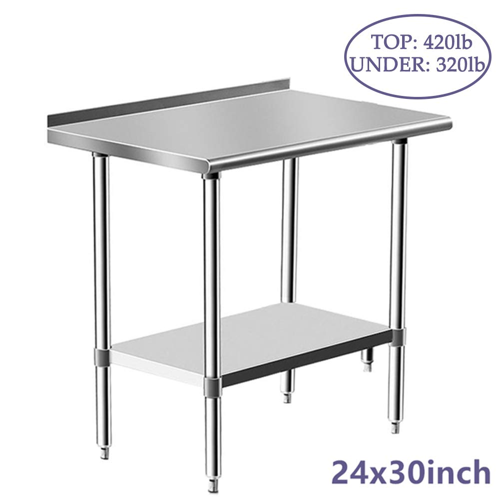 Stainless Steel Table for Prep & Work 24 x 30 Inches, NSF Commercial Heavy Duty Table with Undershelf and Backsplash for Restaurant, Home and Hotel