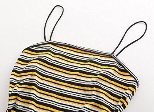 Jaycargogo Maniche Vestito A Strisce Cinghia Di Spaghetti Della Fasciatura Del Bodycon Del Club Delle Donne Mini Abito 1