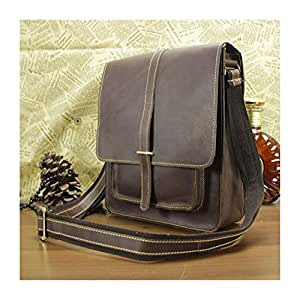Leisure Vintage Men Leather Satchel Bags Cross Body Shoulder Bags Large Capacity Backpack (Color : Brown, Size : S)