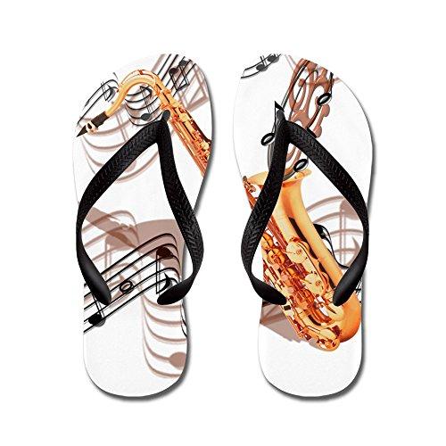 Cafepress Abstrakt Saxofon - Flip Flops, Roliga Rem Sandaler, Strand Sandaler Svart