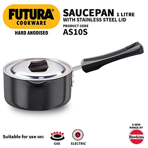 Hawkins HA Ezee-Pour Aluminium Saucepan With Lid – 1 ltr – Black Price & Reviews