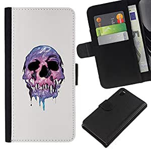 LECELL--Cuero de la tarjeta la carpeta del tirón Smartphone Slots Protección Holder For Sony Xperia Z3 D6603 -- Derretida psicodélico cráneo --