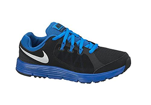 quality design 3b92a bc2cb Nike Boy s Lunar Forever 3 Athletic Shoes Black Military Blue Metallic  Silver 1 Little Kid M  Amazon.in  Shoes   Handbags