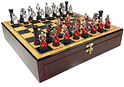 """Red & White Medievel Times Crusades Warrior Knight Chess Set W/ 17"""" High Gloss Walnut Color Storage Board"""