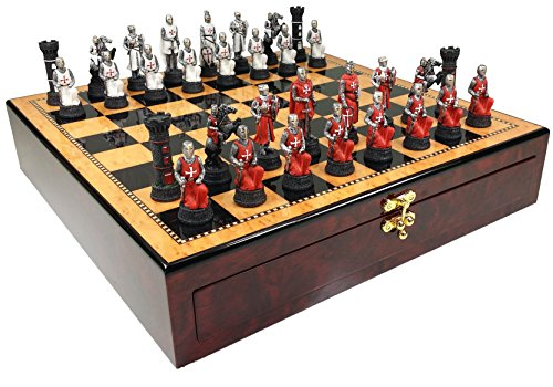 Red & White Medievel Times Crusades Warrior Knight Chess Set W/ 17