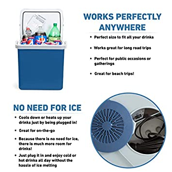 KOOZAM K-Box Electric Cooler and Warmer for Car and Home – 34 Quart 32 Liter – Dual 110V AC House and 12V DC Vehicle Plugs Blue