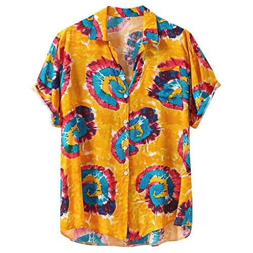 Mens Summer t Shirts Short Sleeve Tronet Fashion Mens Printed Hawaiian Loose Short Sleeve Casual Buttons T Shirt