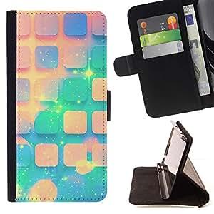 For Sony Xperia Z5 (5.2 Inch) / Xperia Z5 Dual (Not for Z5 Premium 5.5 Inch) Case , Teal Espacio melocotón Estrellas Universo Patrón- la tarjeta de Crédito Slots PU Funda de cuero Monedero caso cubierta de piel