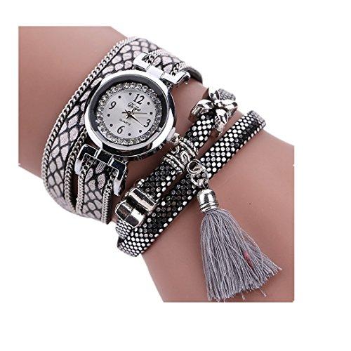 (Wensltd Women's Rhinestone Analog Quartz Wrist Watch With Ethnic Style (Silver))
