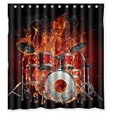 "66""(w) x 72""(L) Custom rock flaming drum set/drum kit musical instrument Bathroom Waterproof Polyester Fabric Shower Curtain"
