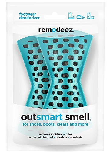 remodeez Teal Natural Odorless Deodorizer for Shoes and Boots, Moisture Absorber, Activated Charcoal from Coconut Husks-Pair (2)