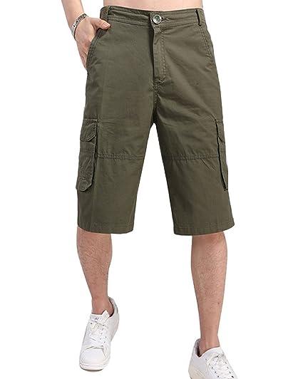 16f99ad4d9 Runyue Herren Einfarbig Cargo Bermuda Shorts Camo Sommer Capri Hosen  Freizeitshorts Kurze Hose Armee-Grün