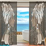 Cheap SAVSV Window Sheer Curtains Panels Window Treatment Set Voile Drapes Tulle Curtains African Woman Portraits 55″ W x 84″ L 2 Panels For Living Room Bedroom Girl's Room