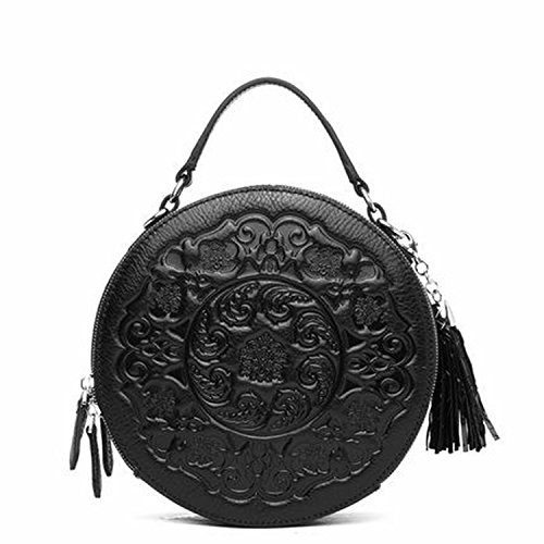 - new women's bag round shoulder bag leather bag handbags women a generation of hair bags,Retro black