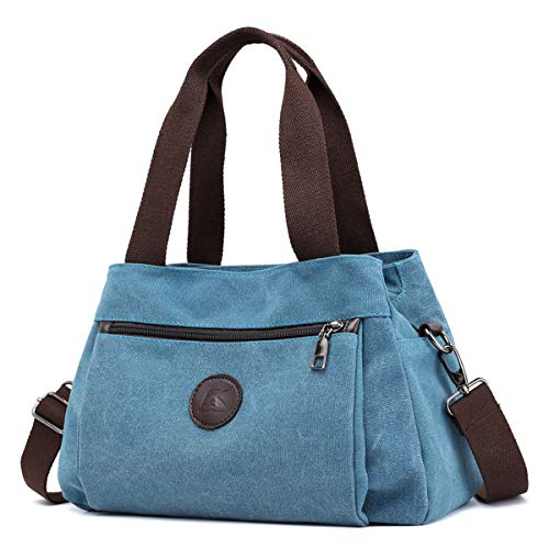 Pocket Large Hobo Handbag - DOURR Hobo Handbags Canvas Crossbody Bag for Women, Multi Compartment Tote Purse Bags (Blue)