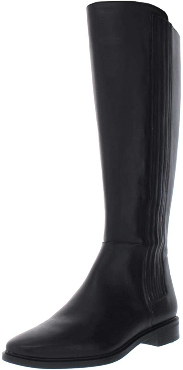 Calvin Klein Womens Finley Leather Closed Toe Knee High Fashion, Black, Size 5.5