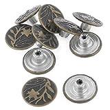 Leaf Pattern Metallic Jeans Tack Buttons Rivet 10 Pcs Bronze Tone