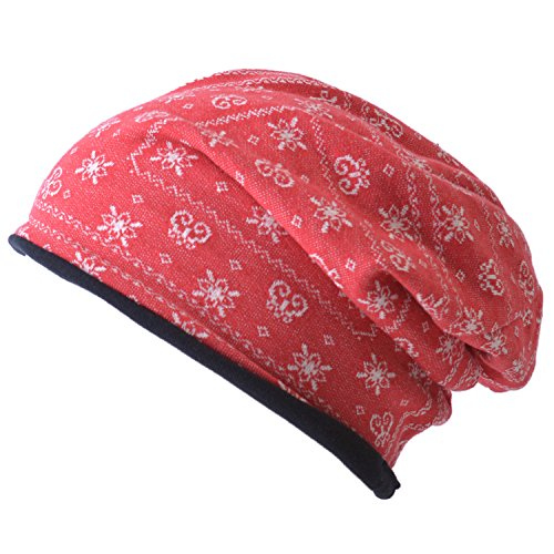 CHARM Casualbox | Organic Cotton Beanie Hat - Reversible Bandana Pattern Fashion Cap - Made In Japan - Unisex Fashion Red (Winter Hat Reversible Knit)