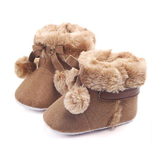 HUHU833 Kinder Mode Baby Stiefel Soft Sole, Keep Warm Schnee Stiefel, Crochet Knit Fleece Boot Schnee Krippe Schuhe Winter Stiefel (0-18 Month) Kaffee