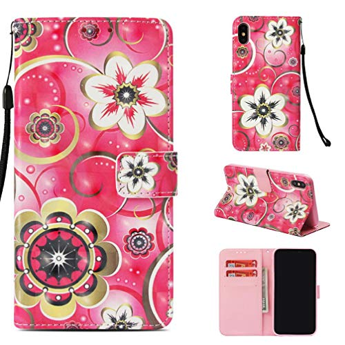 Case for iPhone Xs Mas,Fashion Magnetic Closure Pu Leather 3D Printing Wallet Case Anti-Scratch Kickstand with Inner Soft TPU Bumper Compatible with Apple iPhone Xs Mas -Flowers