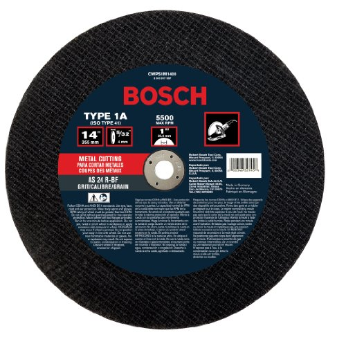 Bosch CWPS1M1400 14 In. 5/32 In. 1 In. Arbor Type 1A (ISO 41) 24 Grit Metal Cutting Bonded Abrasive Wheel