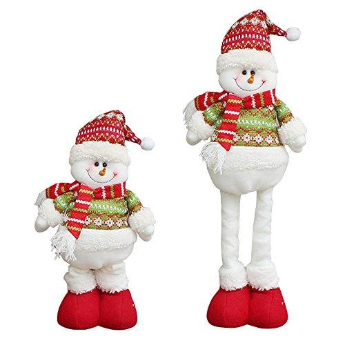Christmas Santa Claus Plush Toy Stretchable Leg Doll Ornaments, MAIYU Christmas Home Party Table Decorations Xmas Tree Hanging Decor Gift (Snowman)