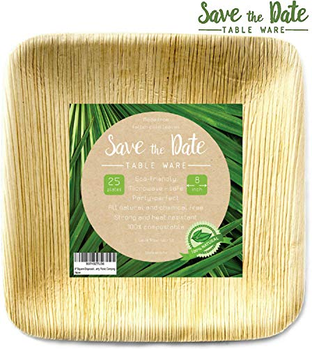 - 8'' Square Disposable Bamboo Areca Palm Leaf Plates (25Pack) Heavy Duty Sturdy Environmentally Safe Biodegradable Compostable Eco Friendly Elegant Rustic Beach Wedding Decor Party Picnic Camping Home