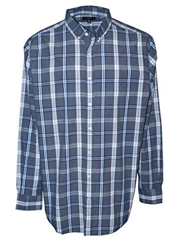 Club Room Men's Big & Tall Wentworth Plaid Long Sleeve Shirt Navy ()
