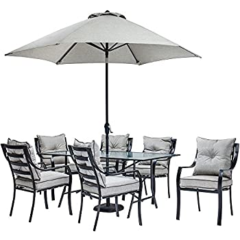 Hanover Lavallette 7 Piece Outdoor Dining Set with Table Umbrella and Base