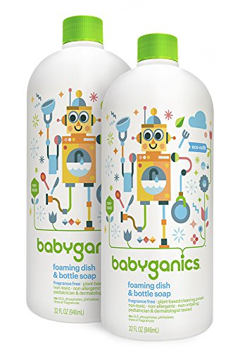Price comparison product image Babyganics Foaming Dish and Bottle Soap Refill, Fragrance Free, 32oz Bottle (Pack of 2)