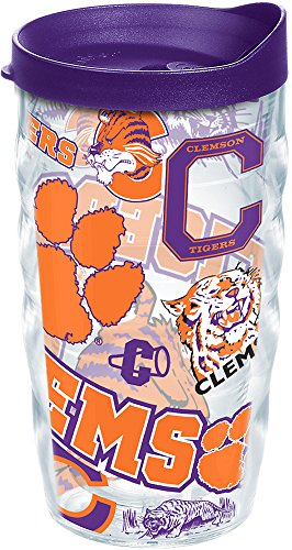 Tervis 1252334 Clemson Tigers All Over Insulated Tumbler with Wrap and Royal Purple Lid 10oz Wavy Clear