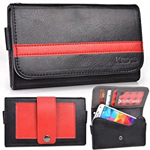 EXXIST® Graphite Series. Faux Leather Clutch / Wallet for Samsung GT-i9508C Galaxy S4 TD-LTE (Color: Black / Red Stripe) -ESMLGPK1