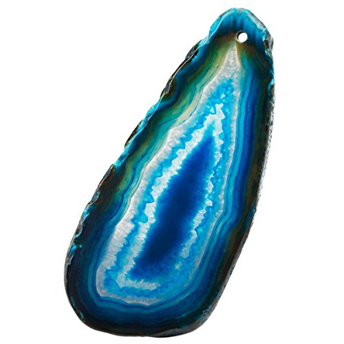 (TUMBEELLUWA Polished Agate Slices Stone Pendants for Jewelry Making, Top Drilled Agate Geode Decorative Stone for Home Decoration, Pack of 12,Blue)