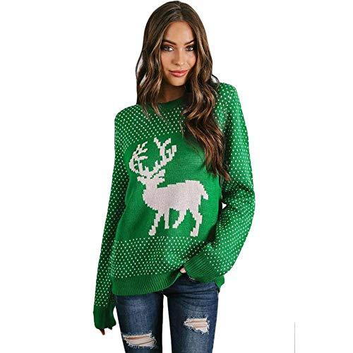 Nuovo Autunno Giorno Elk Pullover Kni Kaidila E Renna Maglione Donna Inverno Nevoso Lungo Verde Manica Lettato Natale Rotondo Collo x4RCzqAwq