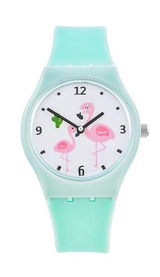 Reloj Pulsera Verde Menta, diseño de flamenco para joven.: Amazon.es: Relojes