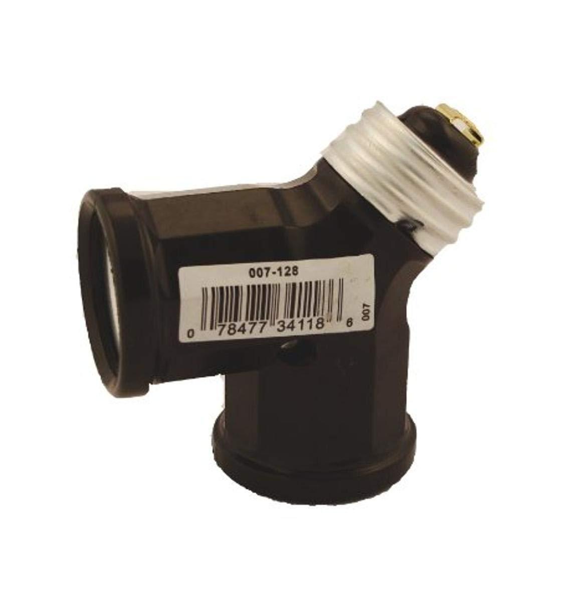 Leviton 128 15 Amp, 660 Watt, 250 Volt, Twin Light Socket Adapter, Brown
