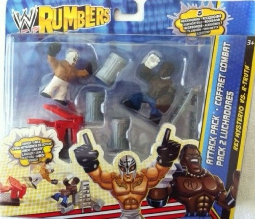 WWE Wrestling Rumblers Exclusive Attack Pack Rey Mysterio Vs. RTruth Includes Launcher, Ladder Trash Cans!