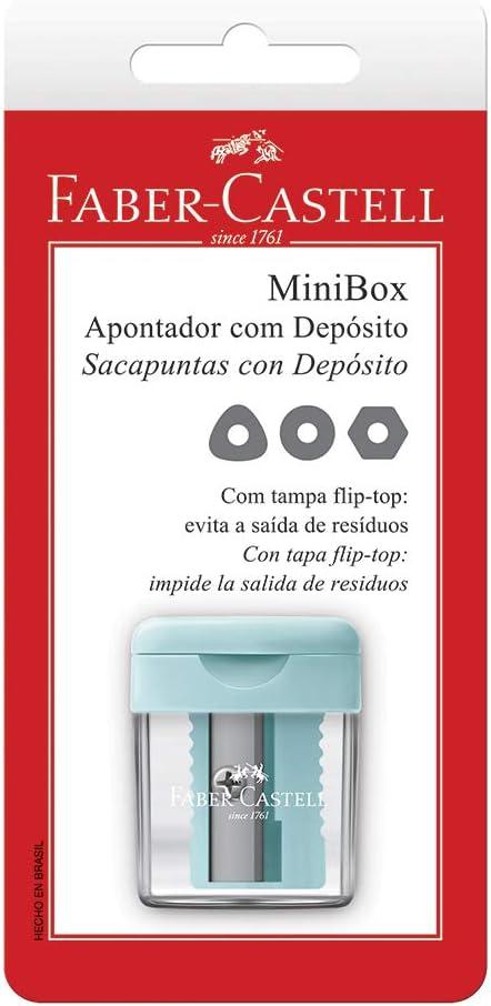 Apontador com Depósito Minibox, Faber-Castell, SM/MINIBOX, Cores Pastel Sortidas, 1 unidade